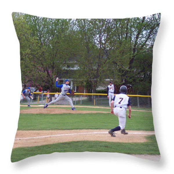 Baseball Pitcher The Delivery Throw Pillow by Thomas Woolworth