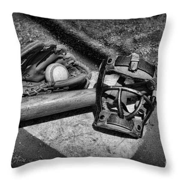 Baseball Play Ball In Black And White Throw Pillow by Paul Ward