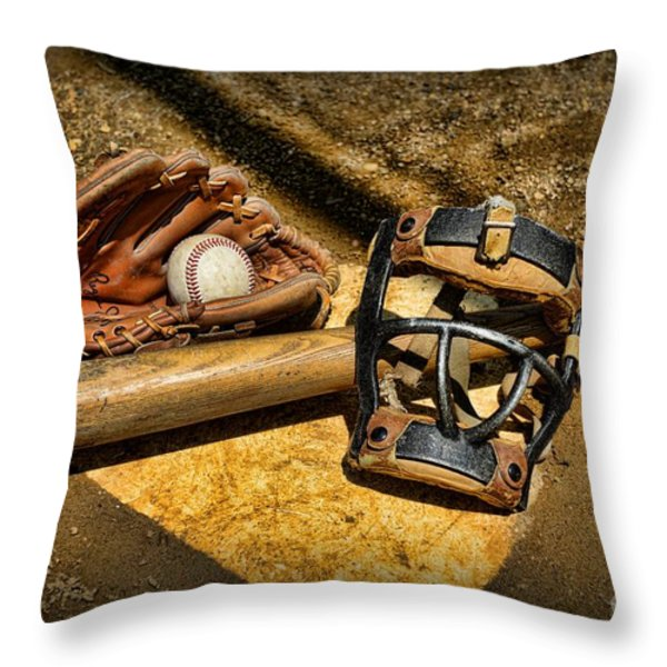 Baseball Play Ball Throw Pillow by Paul Ward