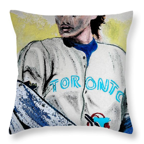 Baseball Player Throw Pillow by First Star Art