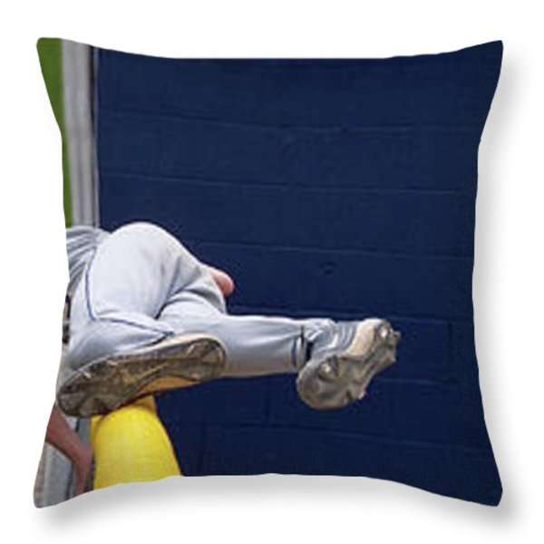 Baseball Playing Hard 3 Panel Composite 02 Throw Pillow by Thomas Woolworth