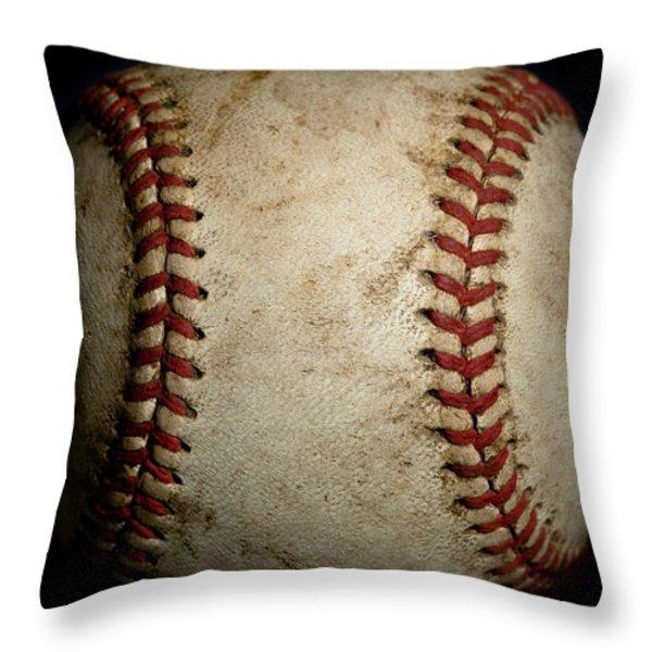 Baseball Seams Throw Pillow by David Patterson