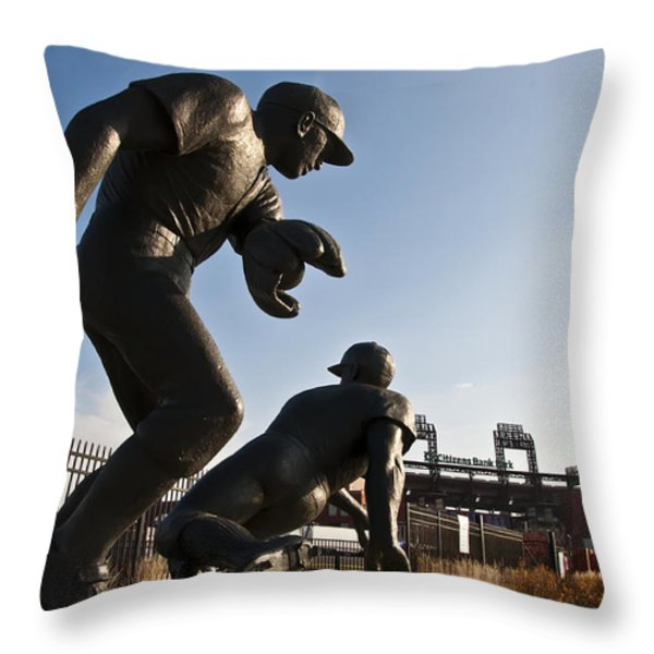 Baseball Statue At Citizens Bank Park Throw Pillow by Bill Cannon