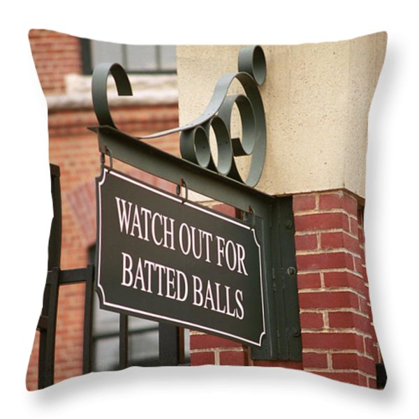 Baseball Warning Throw Pillow by Frank Romeo