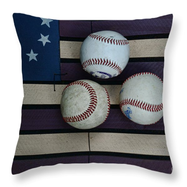 Baseballs on American Flag Folkart Throw Pillow by Paul Ward