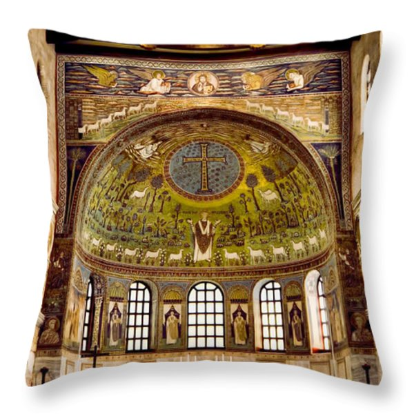 Basilica Di Sant'apollinare Nuovo - Ravenna Italy Throw Pillow by Jon Berghoff