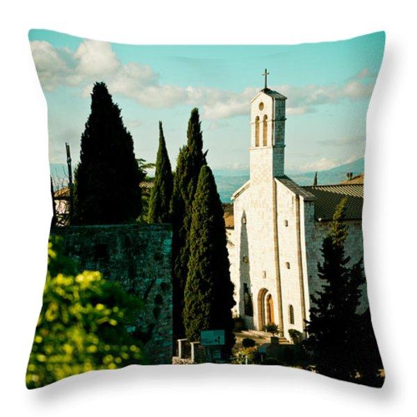 Basilica In Assisi Throw Pillow by Raimond Klavins
