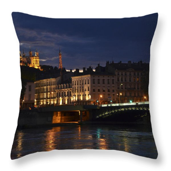 Basilica Notre Dame De Fourviere From Across The Rhone River Throw Pillow by Allen Sheffield