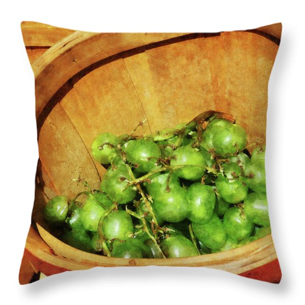 Basket of Green Grapes Throw Pillow by Susan Savad