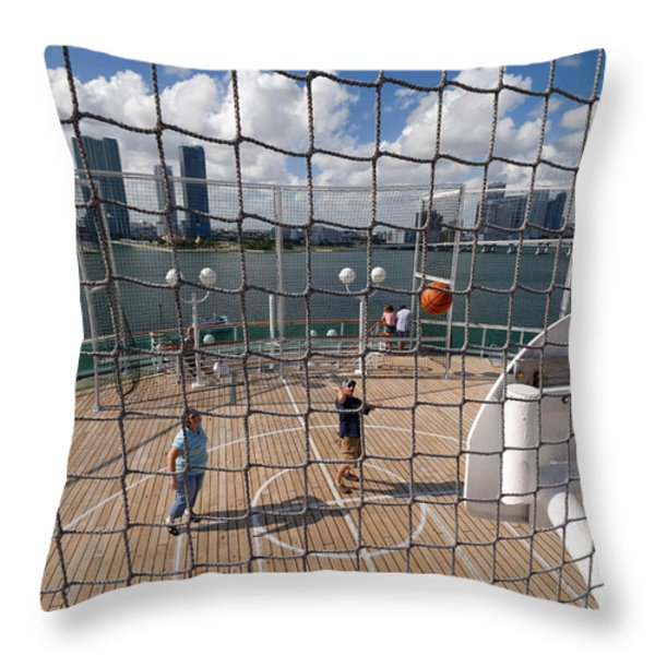 Basketball Court on Cruise Ship Throw Pillow by Amy Cicconi