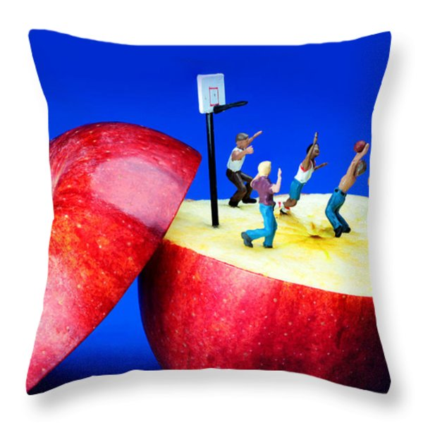 Basketball Games On The Apple Little People On Food Throw Pillow by Paul Ge