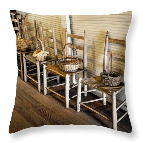 Baskets On Ladder Back Chairs Throw Pillow by Lynn Palmer