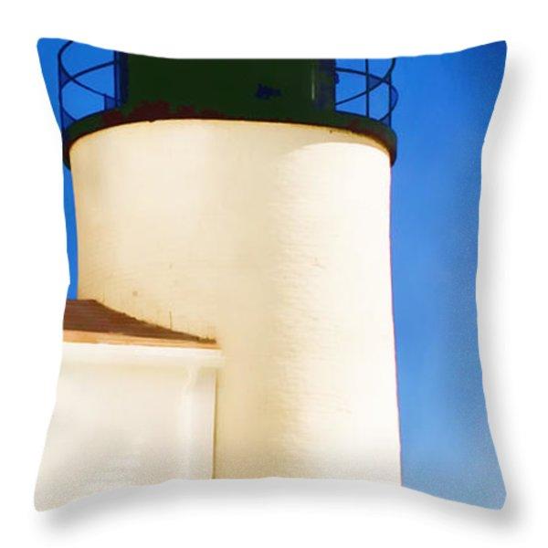 Bass Harbor Head Lighthouse Maine Throw Pillow by Carol Leigh