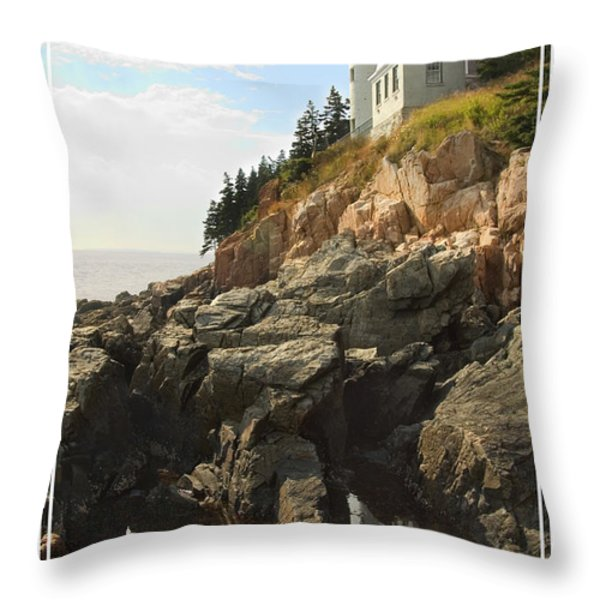 Bass Harbor Head Lighthouse Throw Pillow by Mike McGlothlen