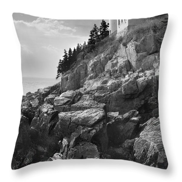Bass Harbor Light Throw Pillow by Mike McGlothlen