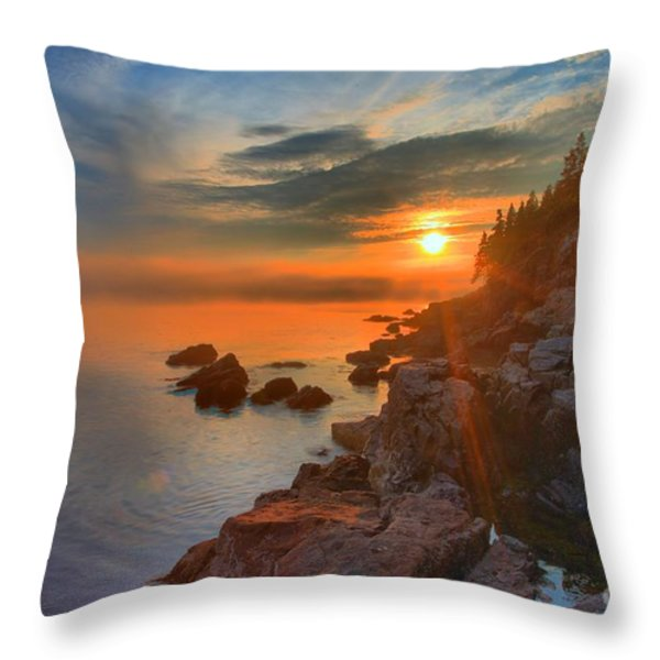 Bass Harbor Sunset Throw Pillow by Adam Jewell