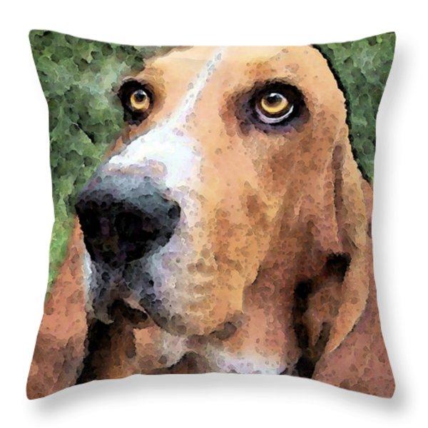 Basset Hound - Irresistible  Throw Pillow by Sharon Cummings