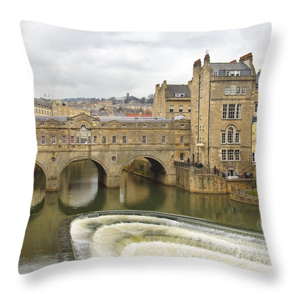 Bath England Spillway Throw Pillow by Mike McGlothlen