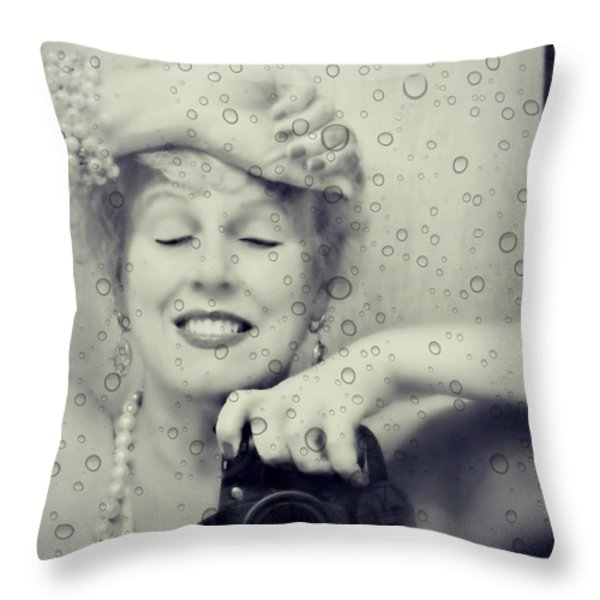 Bath Mirror Throw Pillow by Diana Angstadt