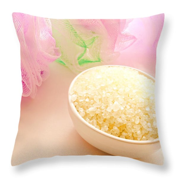 Bath Sea Salts Throw Pillow by Olivier Le Queinec