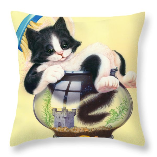 Bath Time Throw Pillow by Andrew Farley