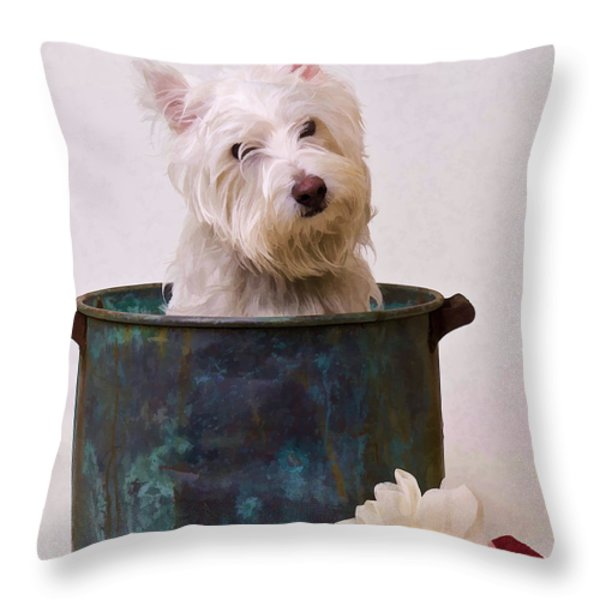 Bath Time Westie Throw Pillow by Edward Fielding