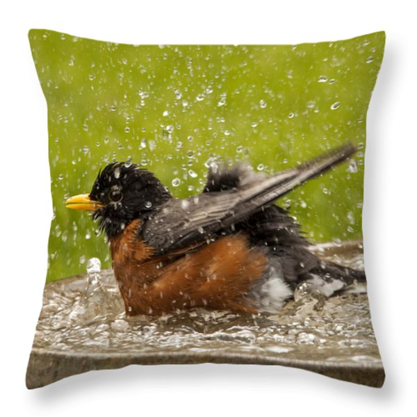 Bathing Robin Throw Pillow by Inge Riis McDonald