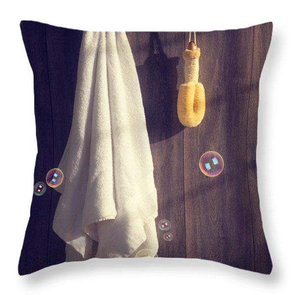 Bathroom Towel Throw Pillow by Amanda And Christopher Elwell
