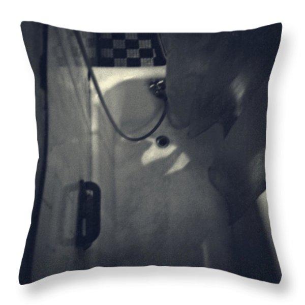 Bathtub in a period bathroom Throw Pillow by Edward Fielding