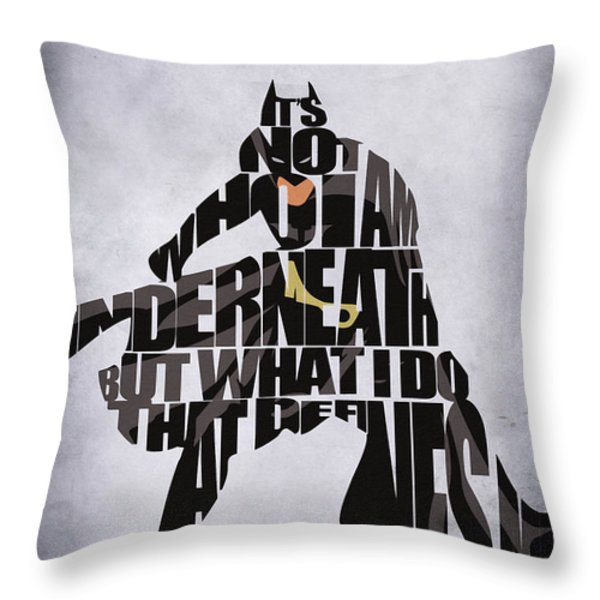 Batman Throw Pillow by Ayse Deniz