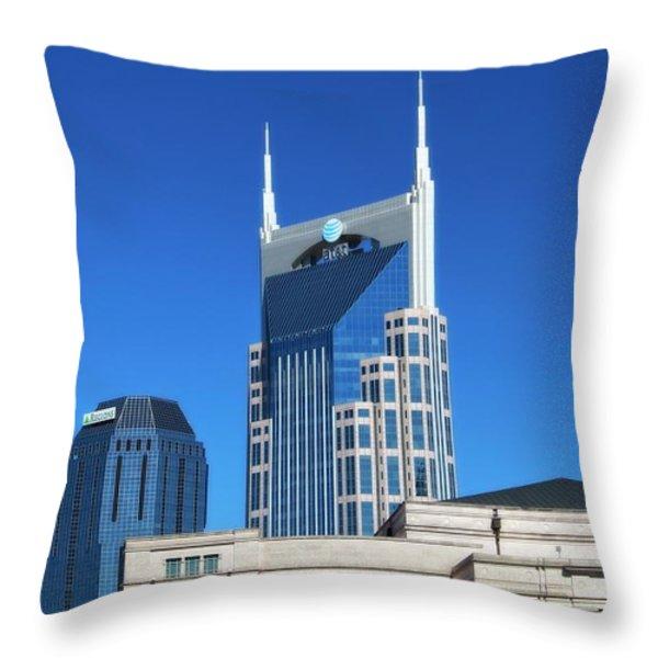 Batman Building And Nashville Skyline Throw Pillow by Dan Sproul