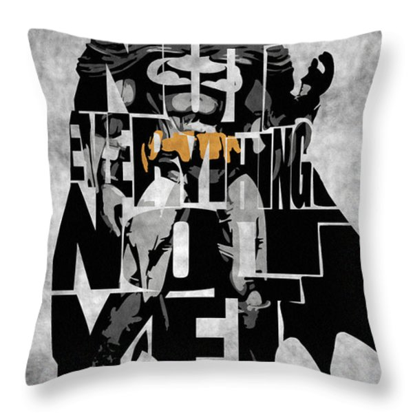 Batman Inspired Typography Poster Throw Pillow by Ayse Deniz