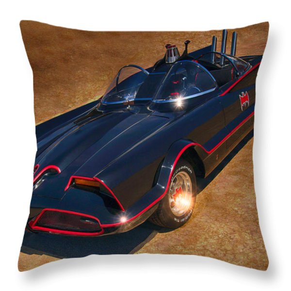 Batmobile Throw Pillow by Tommy Anderson