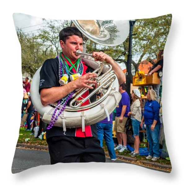 Battered Tuba Blues 3 Throw Pillow by Steve Harrington