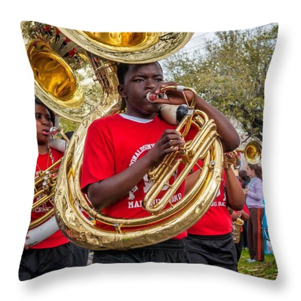 Battered Tuba Blues Throw Pillow by Steve Harrington
