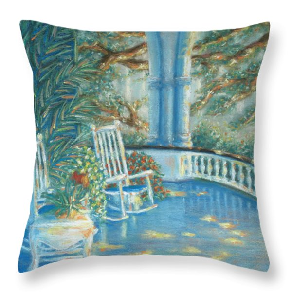 Battery View At Sunset At Two Meeting Street Inn Of Charleston Sc Throw Pillow by Pamela Poole