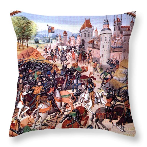 Battle Of Nevilles Cross 1346 Throw Pillow by Photo Researchers