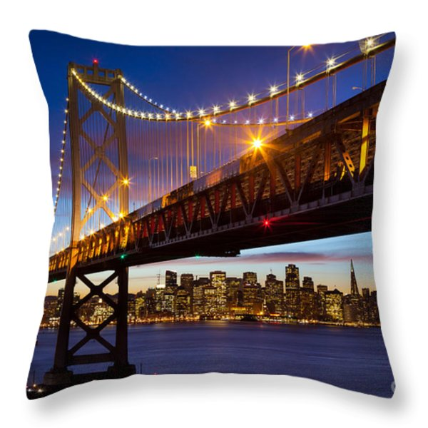Bay Bridge Throw Pillow by Inge Johnsson