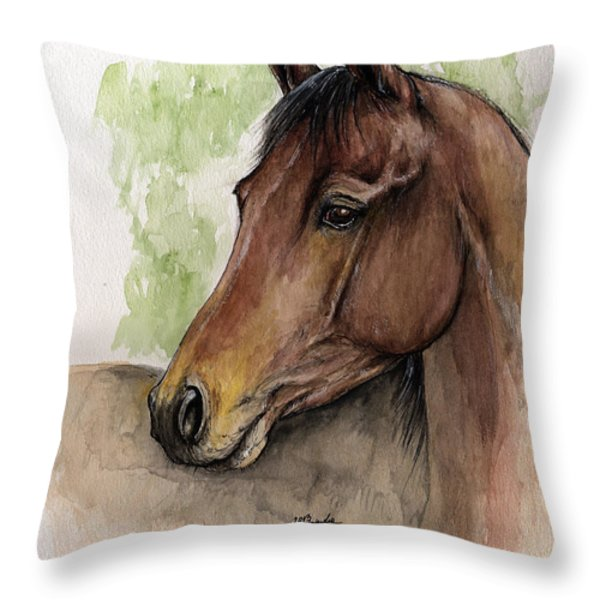 Bay Horse Portrait Watercolor Painting 02 2013 A Throw Pillow by Angel  Tarantella