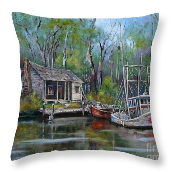 Bayou Shrimper Throw Pillow by Dianne Parks