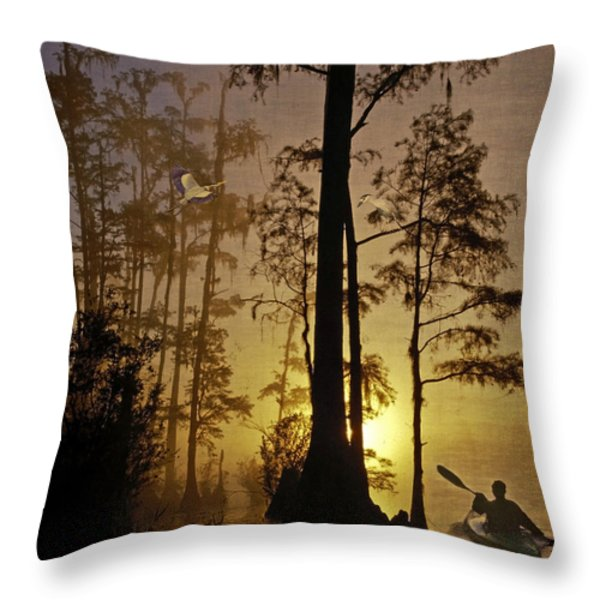 Bayou Sunrise Throw Pillow by Lianne Schneider