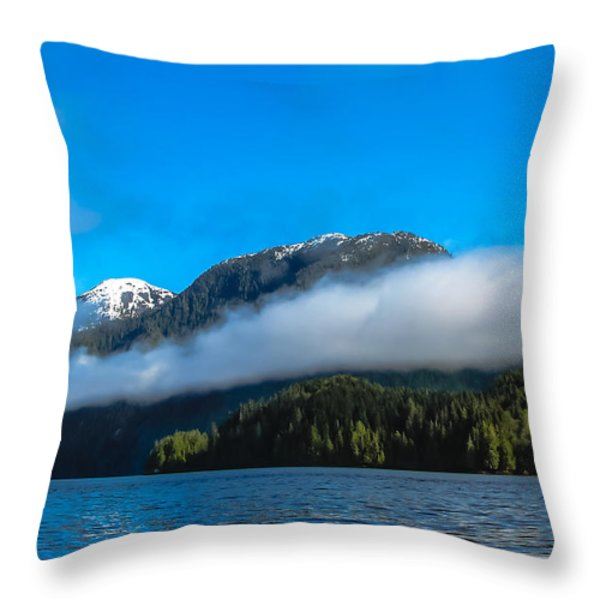BC Coastline Throw Pillow by Robert Bales