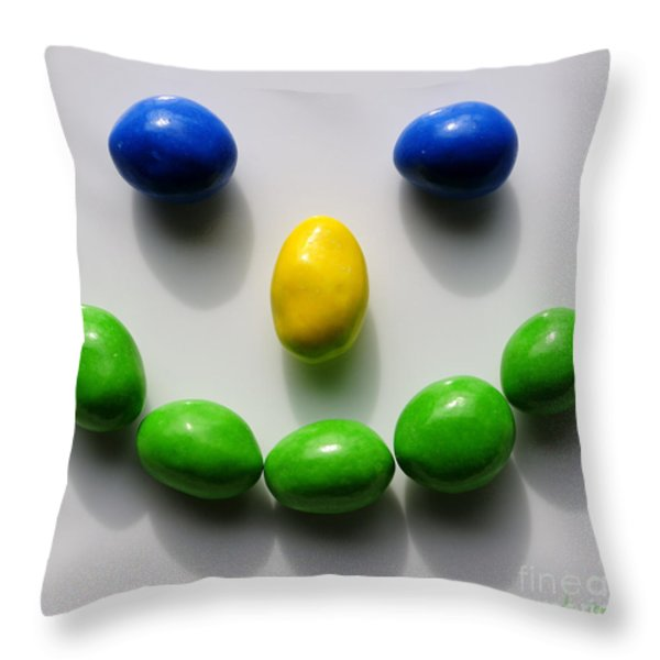 Be Happy Throw Pillow by Luke Moore