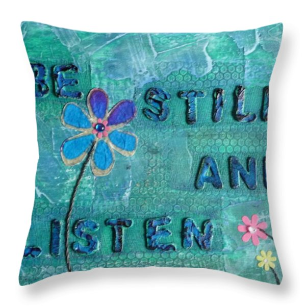 Be Still and Listen - 1 Throw Pillow by Gillian Pearce