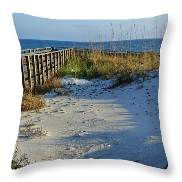 Beach And The Walkway  Throw Pillow by Michael Thomas