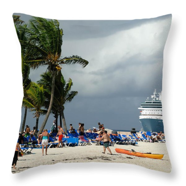 Beach At Coco Cay Throw Pillow by Amy Cicconi
