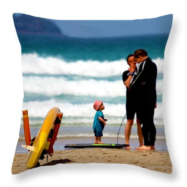 Beach Baby Throw Pillow by Terri  Waters