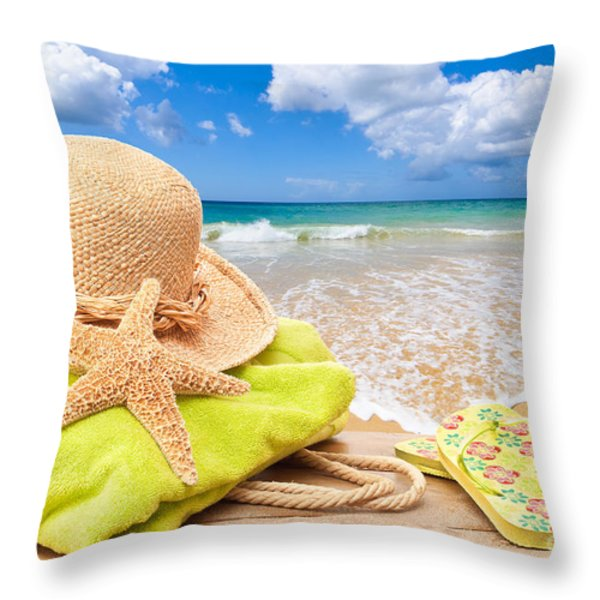 Beach Bag With Sun Hat Throw Pillow by Amanda And Christopher Elwell