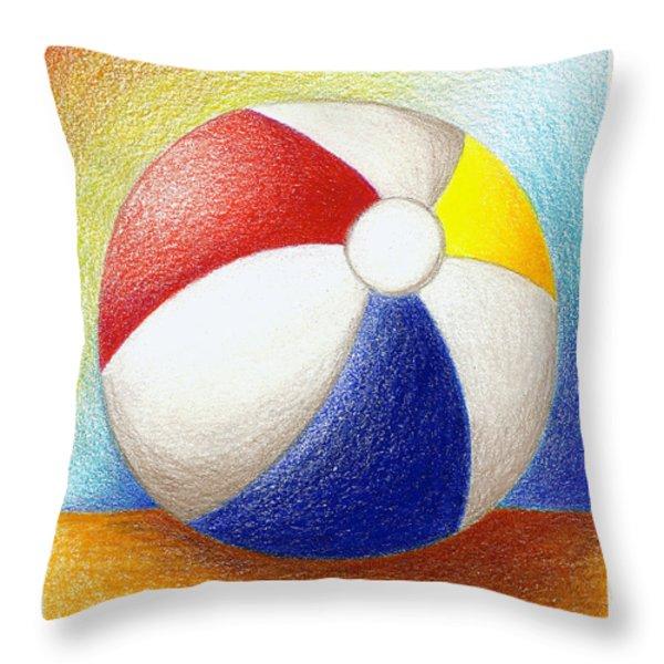 Beach Ball Throw Pillow by Stephanie Troxell