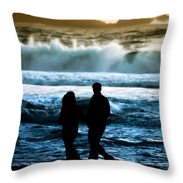 Beach Buddies Throw Pillow by Camille Lopez